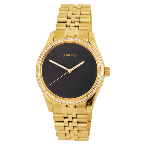 Gold-tone stainless steel men's watch with cubic zirconias