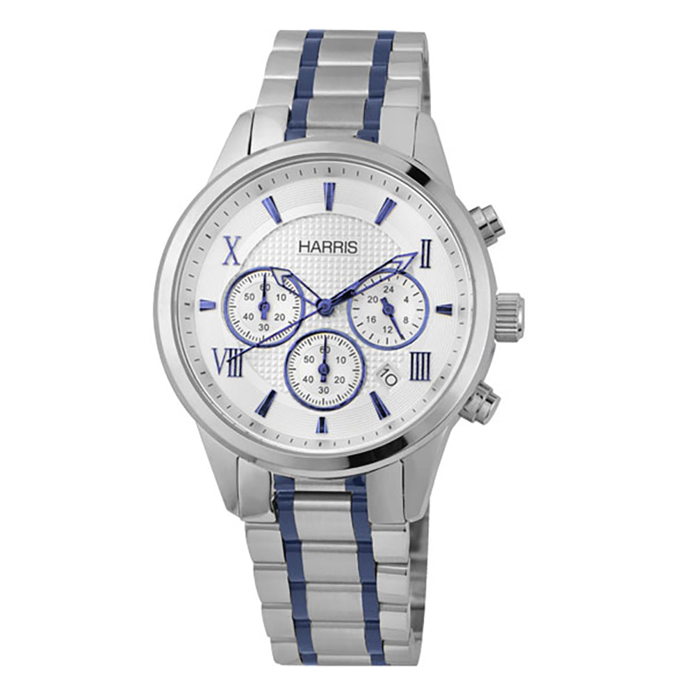 Harris stainless steel chronograph Men's watch with blue accents