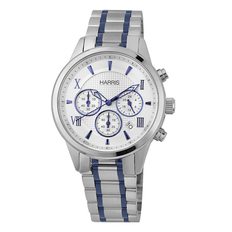 Stainless steel men's chronograph watch with blue accents