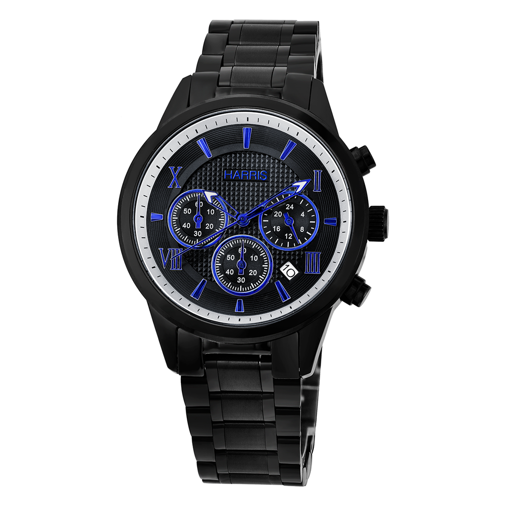 Harris black ion plated stainless steel chronograph Men's watch