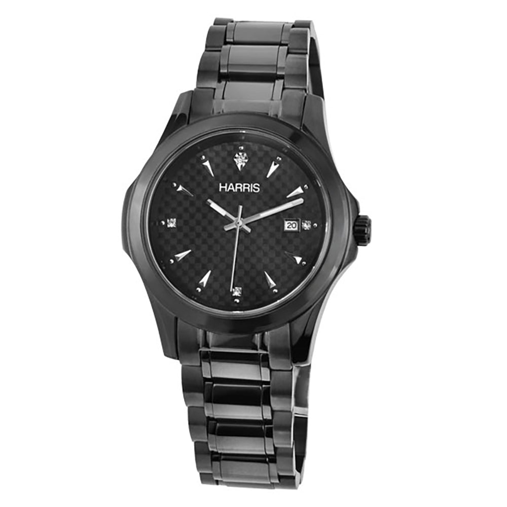 Harris black ion plated stainless steel Men's watch