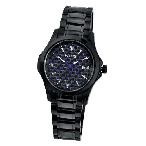 Men's Harris black ion plated stainless steel and tungsten watch