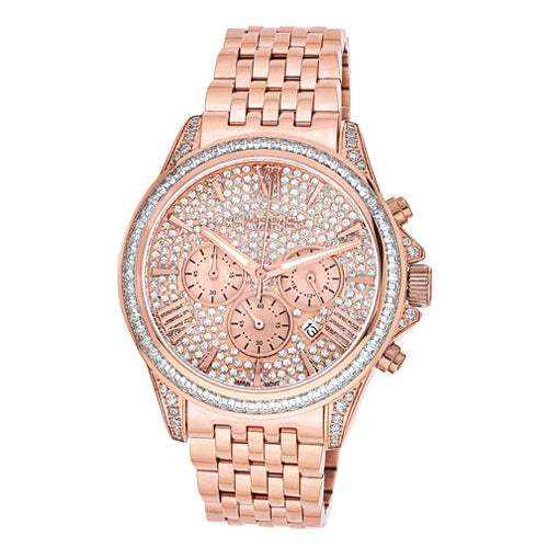 Rose-tone stainless steel men's chronograph watch