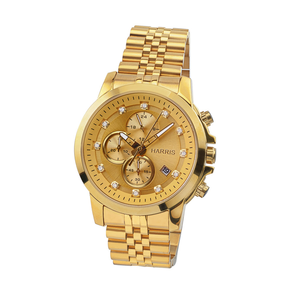Gold-tone stainless steel men's chronograph watch