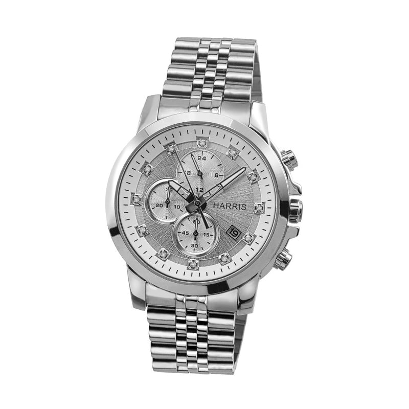 Stainless steel men's chronograph watch with cubic zirconias