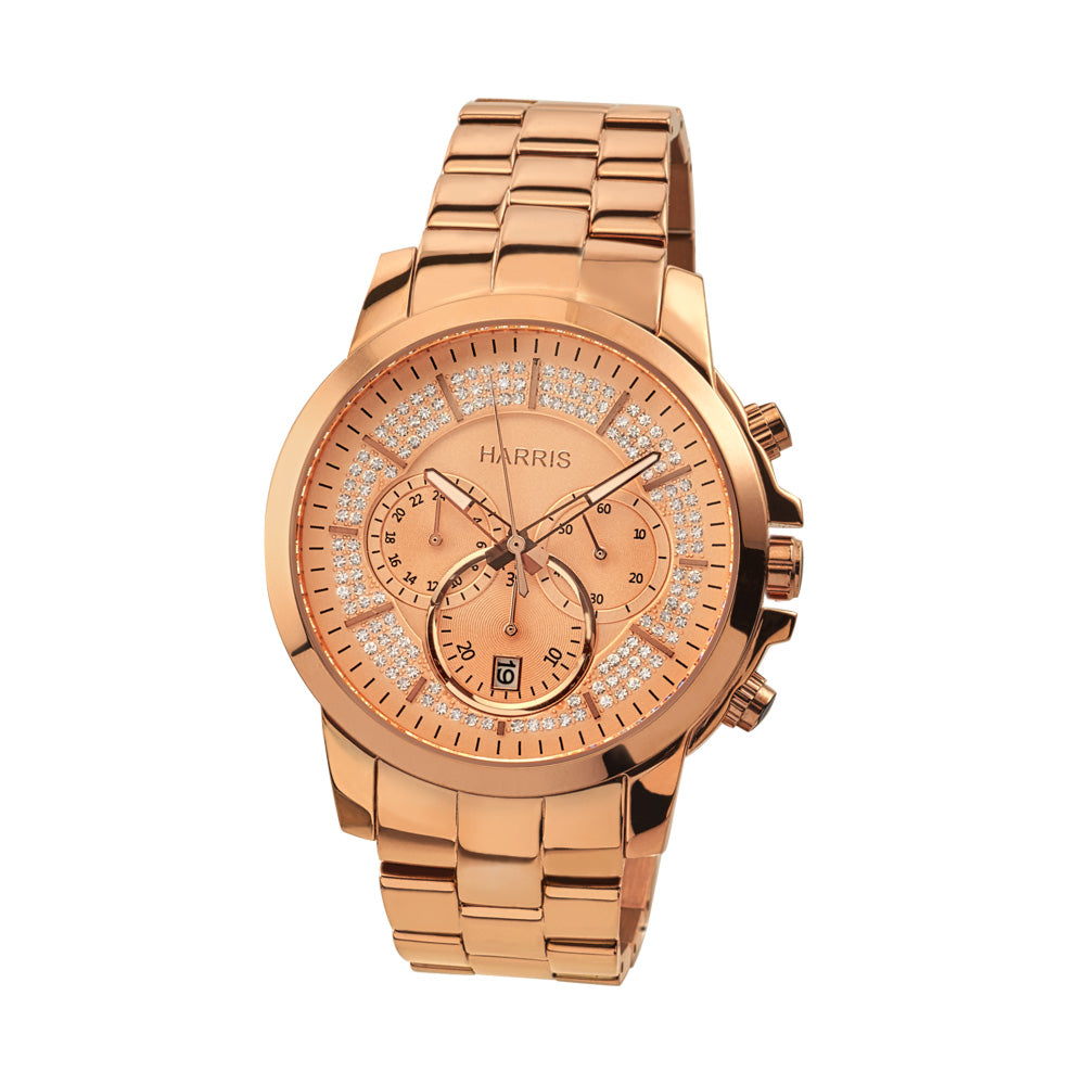 Rose-tone stainless steel men's chronograph watch with cubic zirconias
