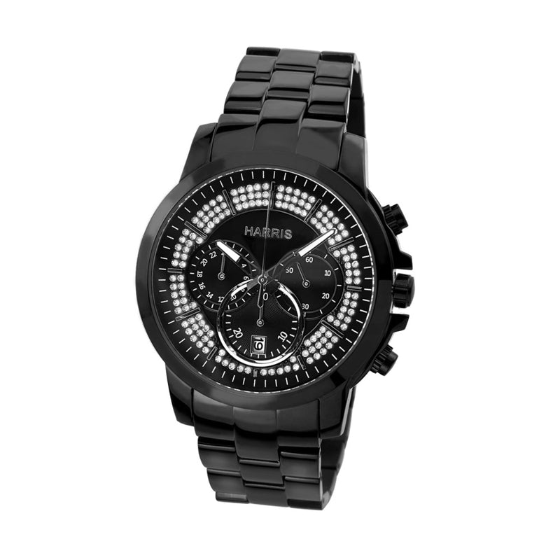 Black IP stainless steel men's chronograph watch
