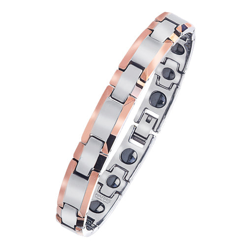 Men's polished coffee ion plated tungsten bracelet