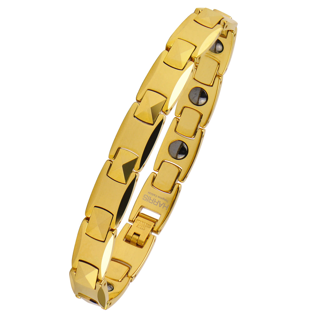 Men's yellow ion plated tungsten bracelet