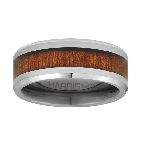 Silver-toned tungsten men's band