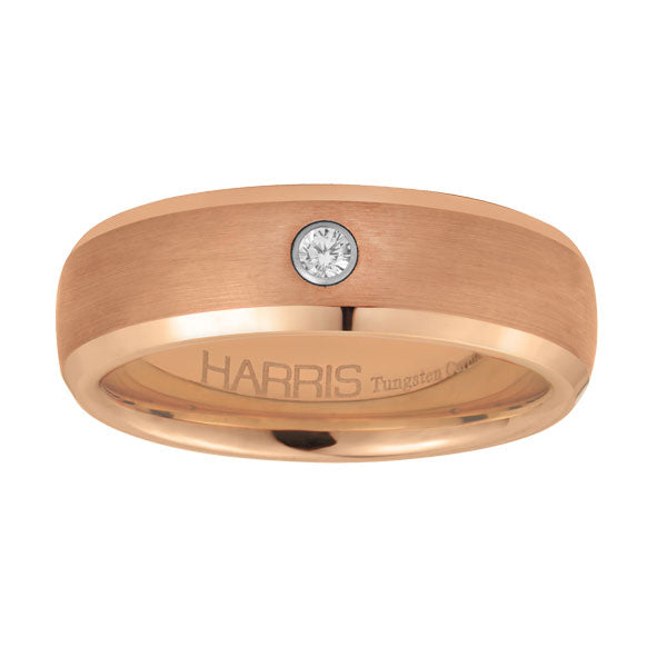 Rose-toned ion plated tungsten men's band