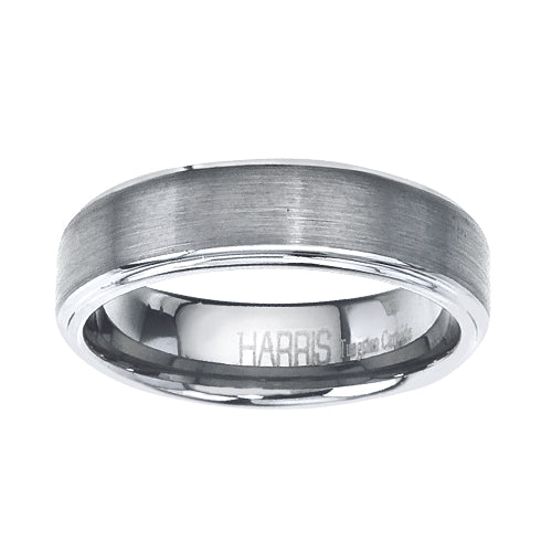 Brushed tungsten men's band