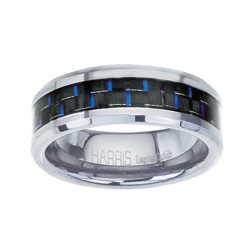 Black and blue carbon fiber tungsten men's band