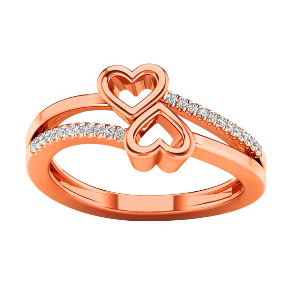 Double heart diamond accent bypass ring
