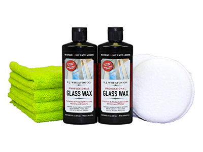 E.J. Wheaton Co. Glass Wax Polishing Kit, Includes Glass Wax (16 fl. oz.), Wax Applicator Pads (2 Each) & Microfiber Towels (4 Each) 16 in. x 16 in, 400 GSM, Dual Pile, Extra Soft, Edgeless, Tagless