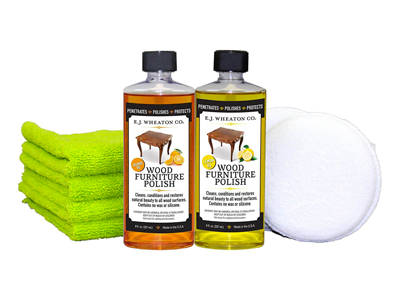 E.J. Wheaton Co. Lemon Oil & Orange Oil Wood Furniture Polishing Kit, Contains Everything you Need to Clean, Condition and Restore Natural Beauty To All Wood Surfaces
