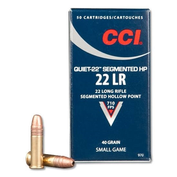 CCI .22 Long Rifle Quiet-22 Segmented HP munition