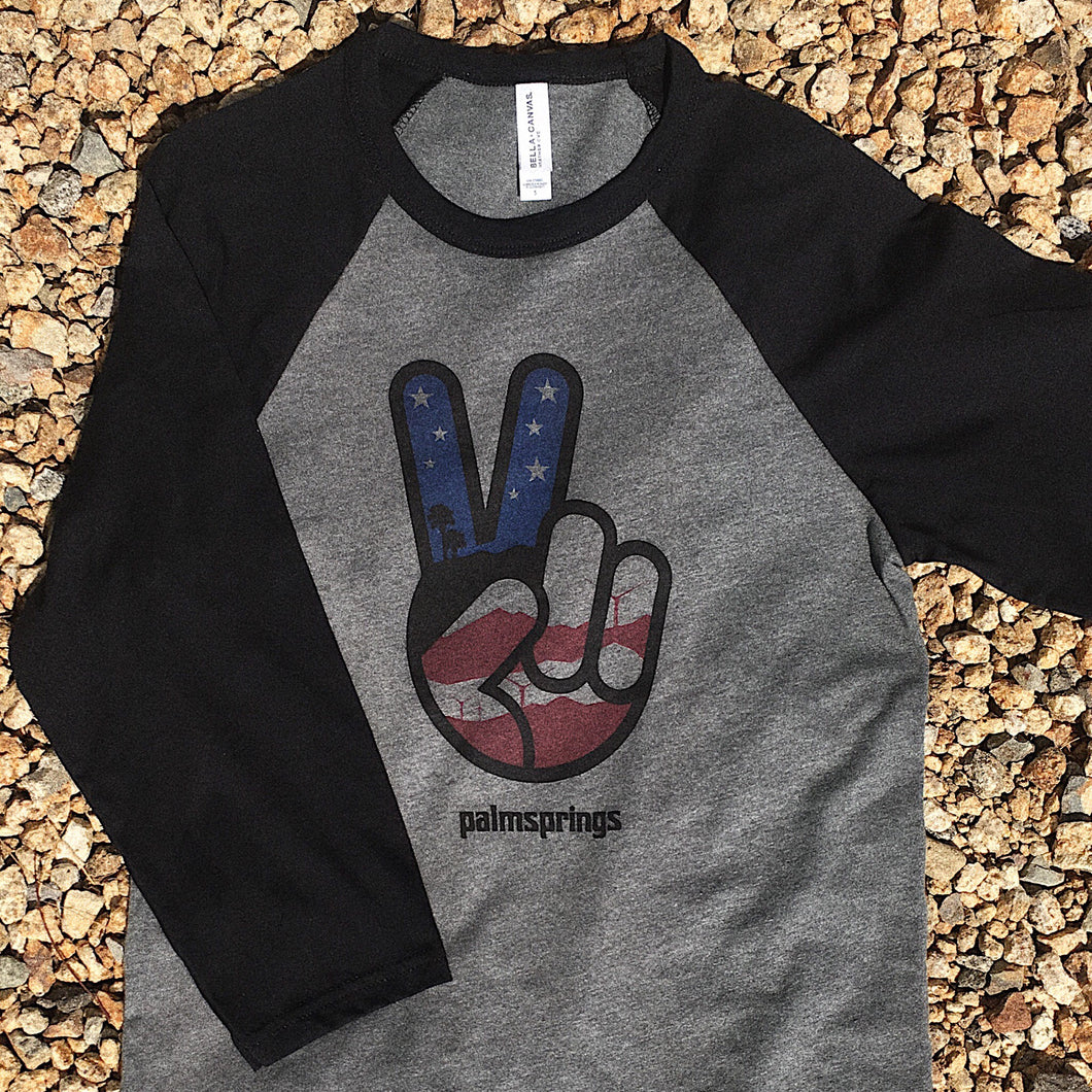 American Flag Peace Sign Baseball Tee