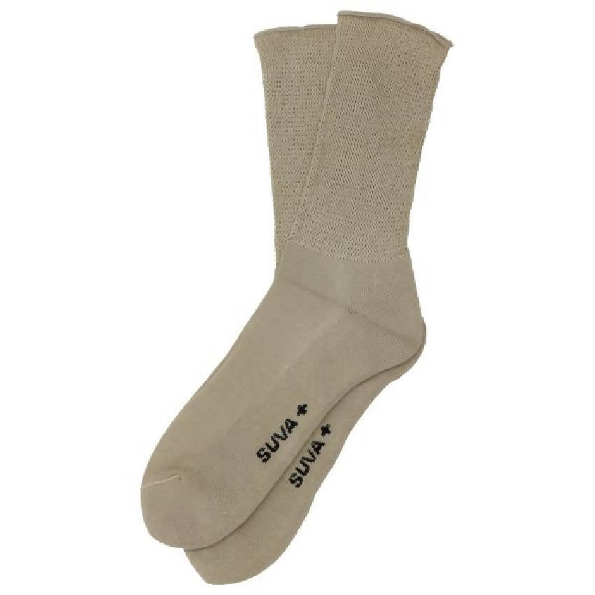 SUVA PLUS Diabetic Loose Cuff Terry Cushioned Combed Cotton Comfortable Crew Socks Women - Beige