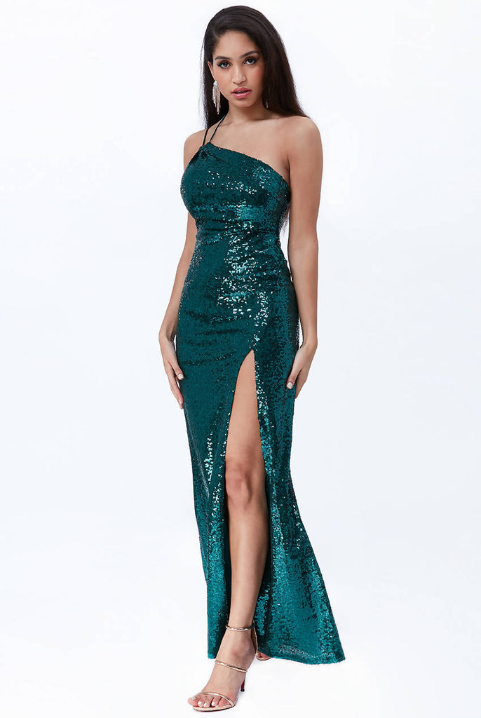 VICKY PATTISON - ONE SHOULDER SEQUIN MAXI DRESS