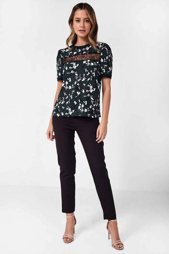 Floral Top with Front Lace Panel