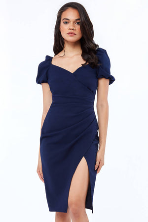 PUFFY SLEEVE SCUBA CREPE MIDI DRESS