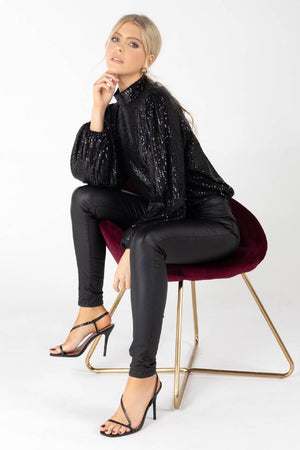Sia High Neck Sequin Blouse in Black
