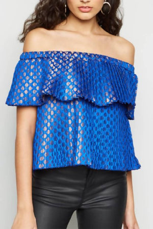 Pleated Brocade Off shoulder Top