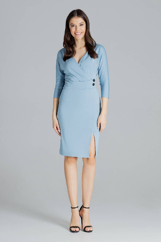 Fitted Midi Dress With an Wrap Neckline