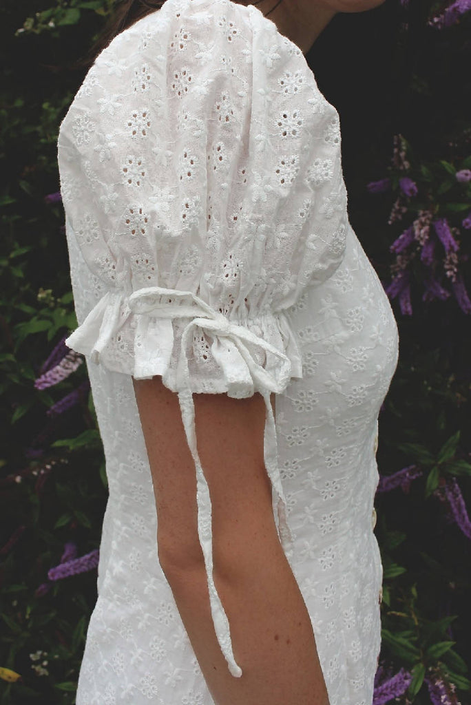 White Midi Broderie Summer Dress
