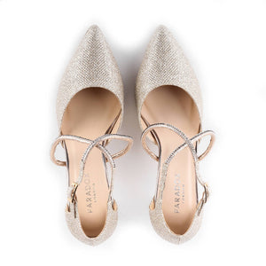 Glitter 'Kennedy' High Heel Ankle Strap Court Shoes