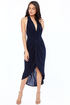 WRAP MIDI MULTITIE DRESS