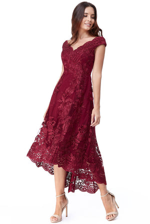 EMBROIDERED LACE MIDI DRESS WITH ASYMMETRICAL HEM