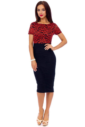 Red Lace Detail Contrast Skirt Midi Dress