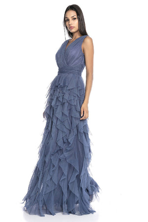 Waist Detailed Tulle Evening Dress