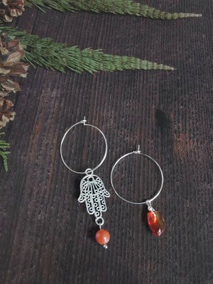 Sterling Silver Hoop & Hamsa Hand Semi Precious Stone Earrings - Agate