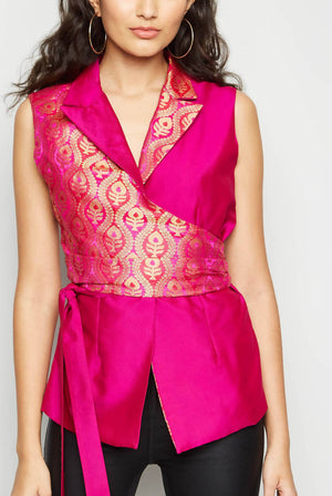 Wrap Pink Brocade Tailored Blazer