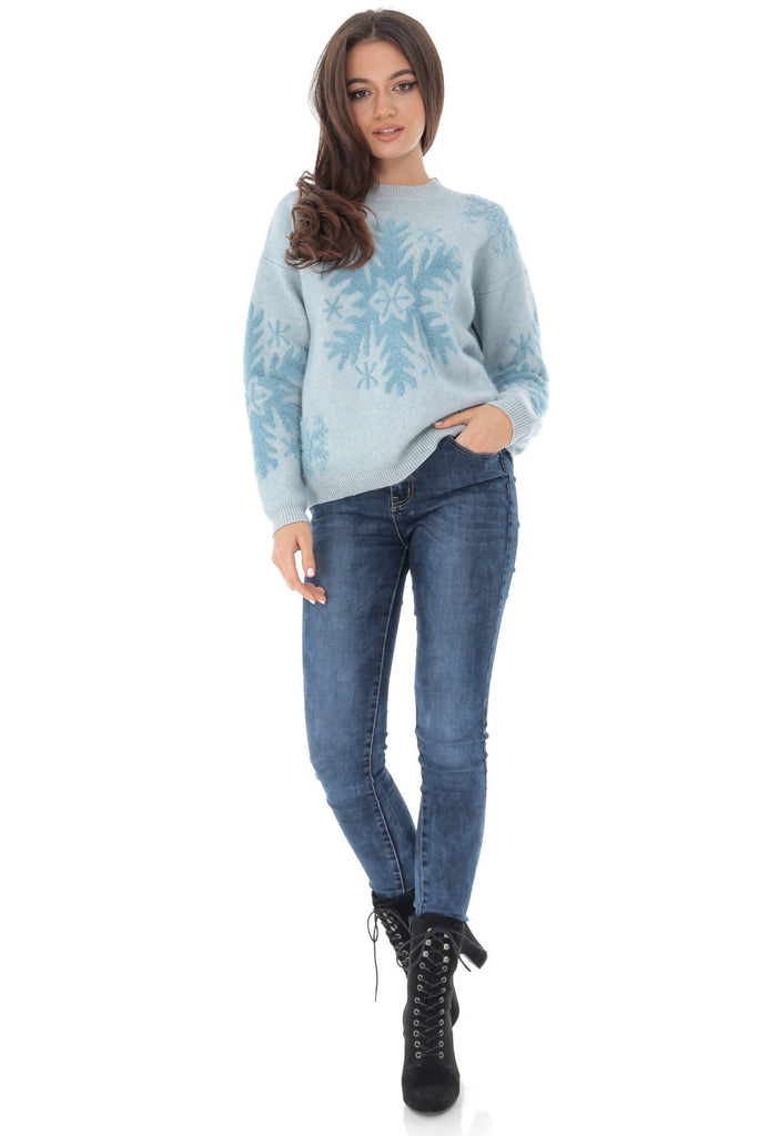 Soft blue jumper with a seasonal snowflake, Aimelia - BR2226