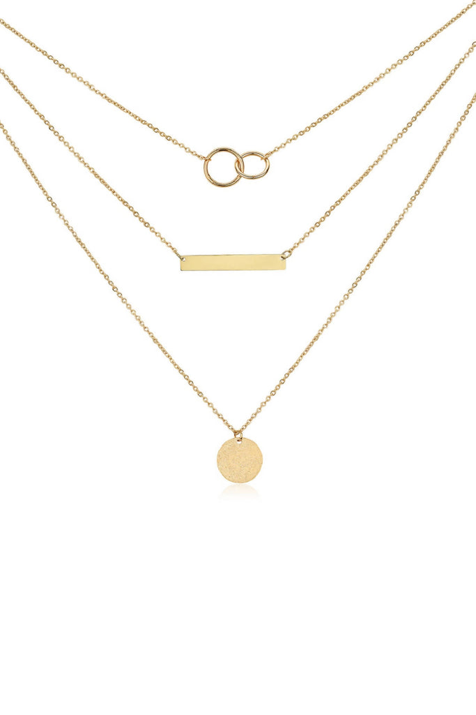 Layered Bar & Circle Necklace in 18k Rose Gold, Gold or Sterling Silver Plating