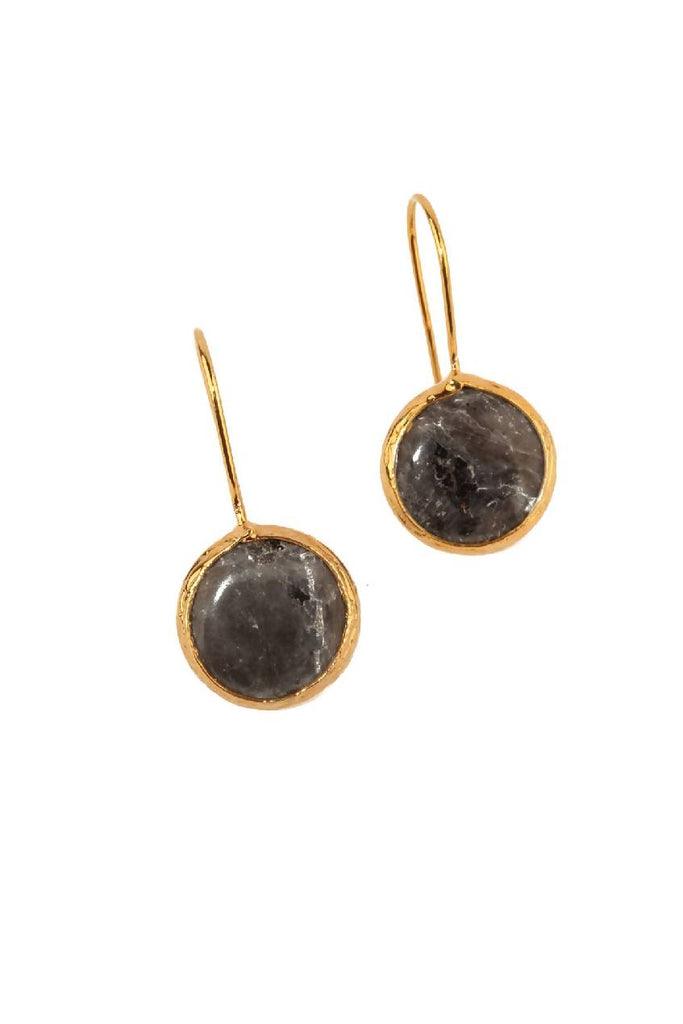 Bezel Earrings with Natural Stone