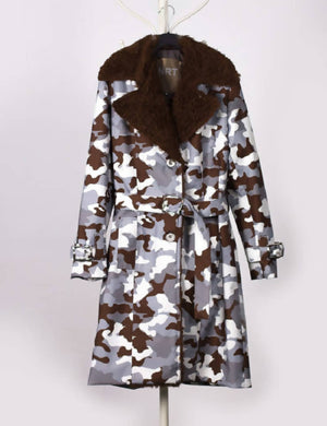 Camouflage Grey Waterproof Trench Coat with Shearling Lining