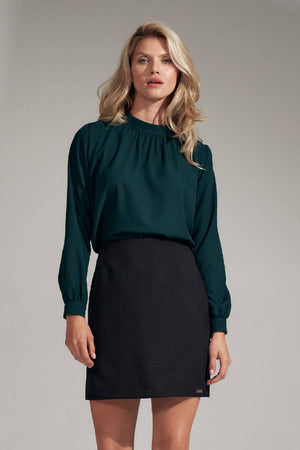 Green stand-up collar blouse