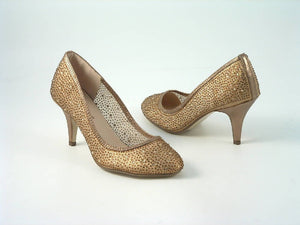 Diamante Round Toe Mid Heel Court Shoe