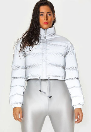 Reflective bomber down jacket