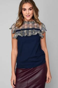 Frill Top in Navy