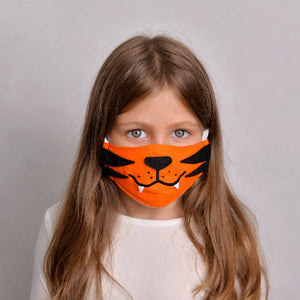 Kids Tiger Face Mask with Filter Pockets - Machine Washable, 100% cotton