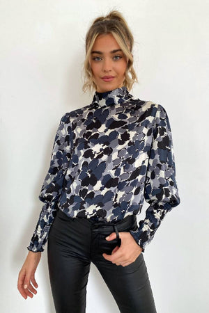 Dakota Smocked Sleeve Satin Blouse