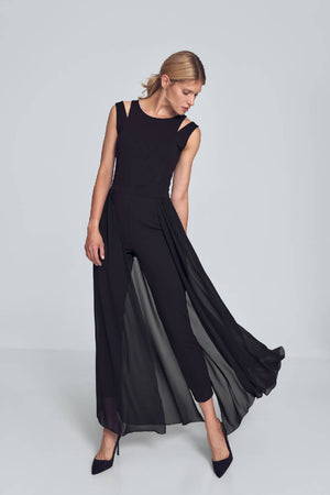 Black Jumpsuit With Chiffon Skirt