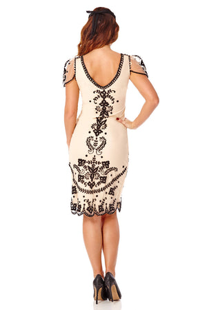 Florence Flapper Dress in Nude Black