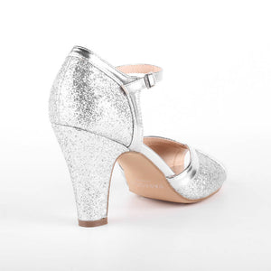 Glitter 'Karlie' High Heel Peep Toe Ankle Strap Sandals